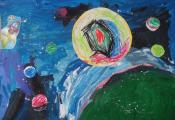 «В глубинах космоса». Еленская Валерия. Группа № 5, ДУО «Ясли-сад № 110 г. Витебска»